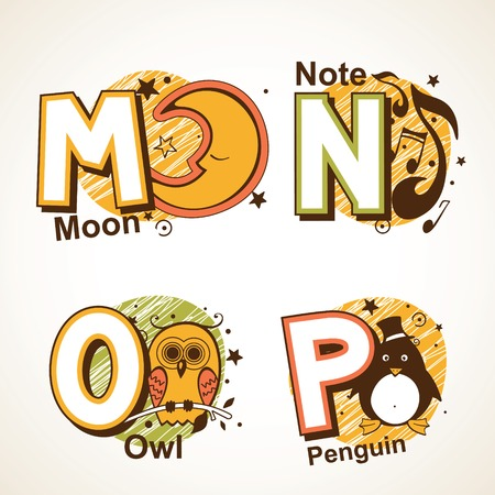 Alphabet set from M to P moon, note, owl and a penguin Illustration
