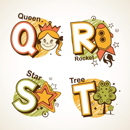 Alphabet set from Q to T with a picture of Princess, rockets, stars and tree