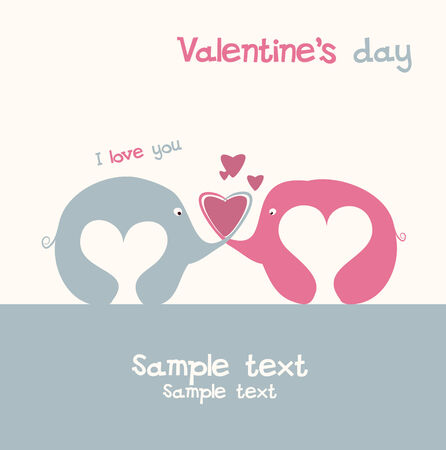 valentine s card: Cute valentine s card with elephants