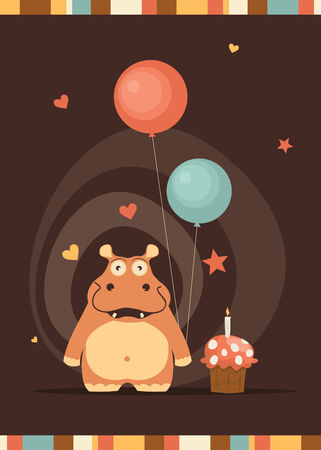 cute happy birthday card with fun hippo Vector