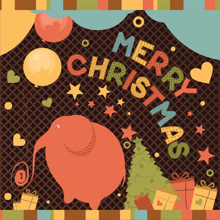 Christmas card with a red elephant and gifts
