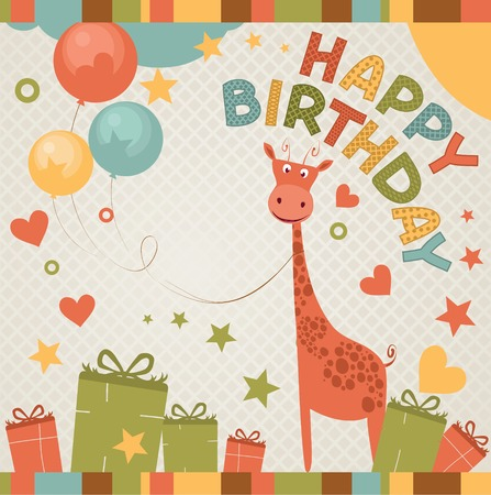 birthday party: cute happy birthday card with giraffe