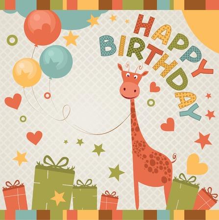 happy birthday party: linda tarjeta de cumplea�os feliz con la jirafa Vectores