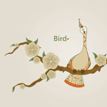 Funny bird sitting on a branch of sakura Illustration