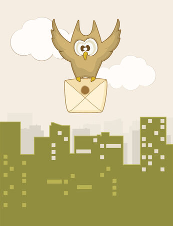 owl cute: Cute flying owl with a letter to the city