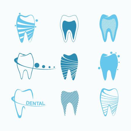 dentures: Set of dental icons Illustration