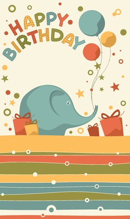 Birthday card with a blue elephant and balloons Illustration