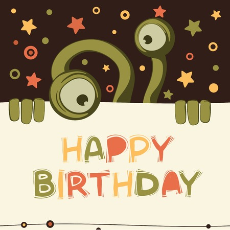 Birthday card with cute monster Vector
