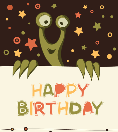 Birthday card with cute monster 일러스트