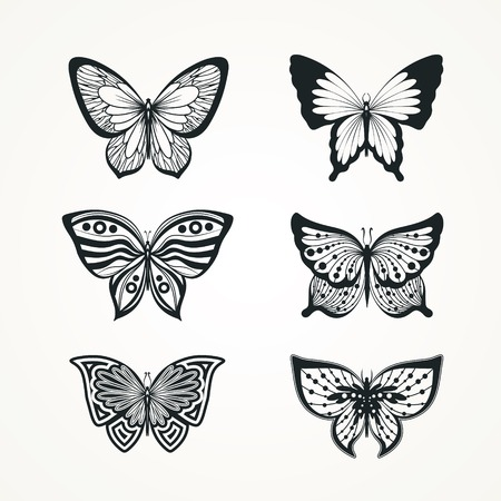 Collection of stylized butterfly  tattoo  Vector