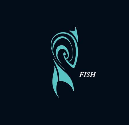 Stylized  graphic  fish  tattoo  일러스트