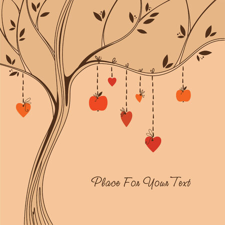 Love tree  Colorful romantic background