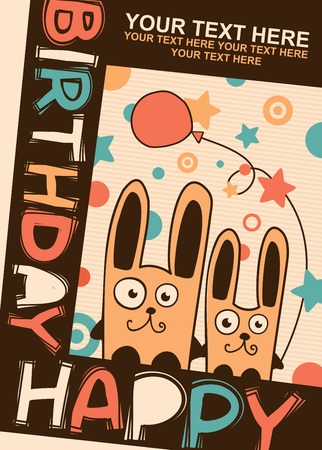 Birthday card with two cute rabbits and balloon
