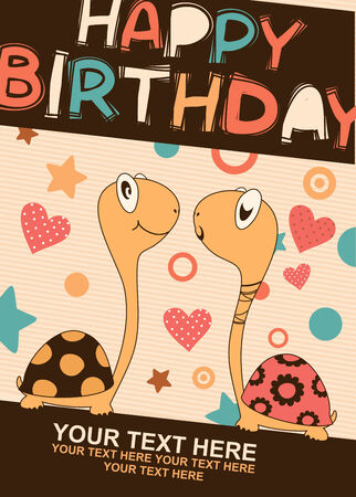 Birthday card with two cute turtles