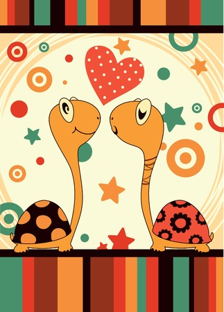 Cute card with a pair of lovers turtles