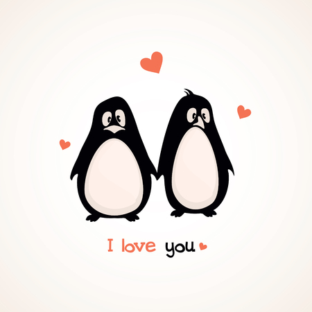 Postcard Valentine s Day with cute penguins Vector