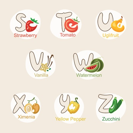 alphabetical order: illustration of fruit and vegetables in alphabetical order from S to Z