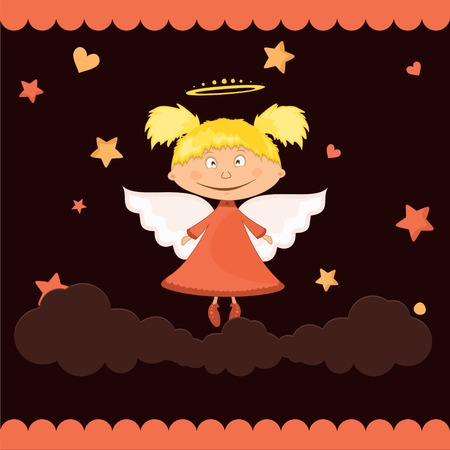 Girl  Cute angel in the clouds on a dark background Vector