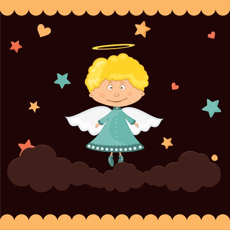 Boy  Cute angel in the clouds on a dark background Vector
