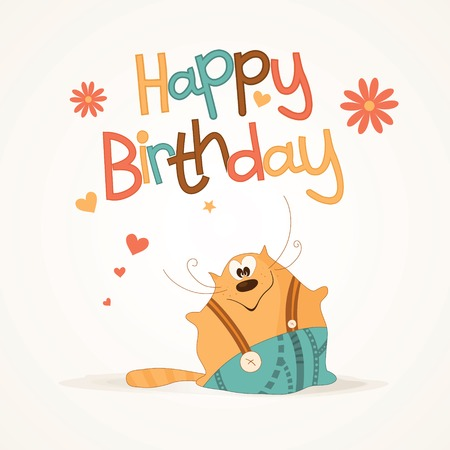 Birthday card with a cute fat cat Vector