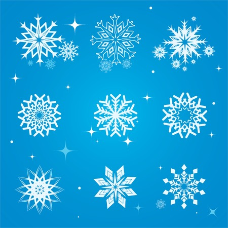 Collection of stylized snowflakes on a blue background Vector