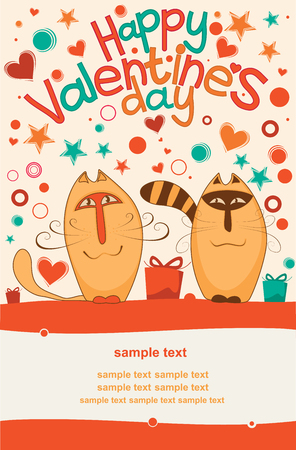 Postcard Valentine s Day with a pair of lovers cats