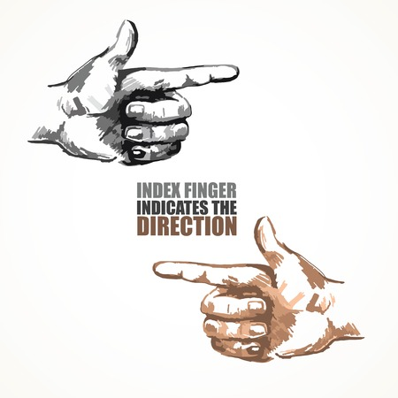 Illustration of a hand indicating or showing direction by pointing a finger  Vector