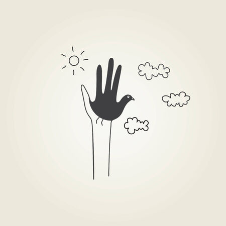 hands symbolizing a dove 일러스트