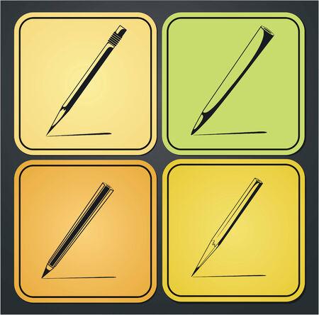 연필 아이콘 디자인 요소의 집합