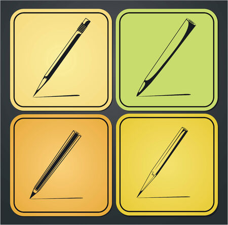 Set of design elements of the pencil icon Vector