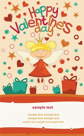 Postcard Valentine s Day with a cute fairy Vector