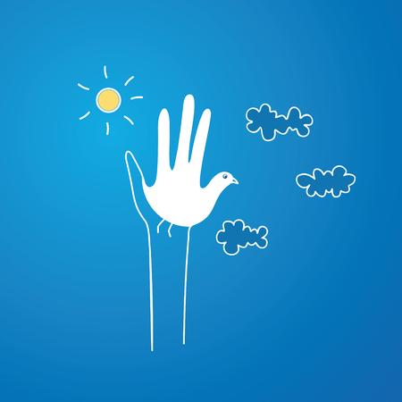 비둘기를 상징하는 손 일러스트