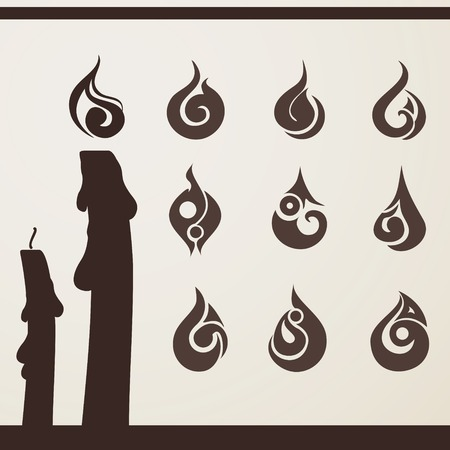 candle flame: ollection of stylized fire for your design Illustration