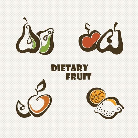 Stylized icons of fruit  apple, lemon and pear  Illustration