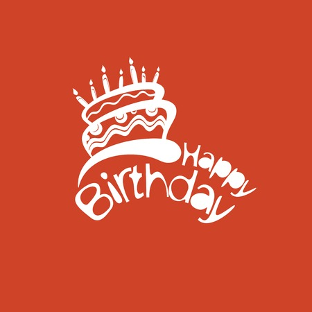 Birthday card with cute cake and place for your text Vector