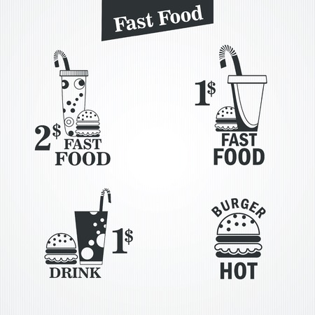 fast food and drink set.