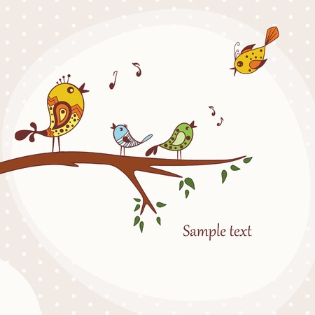 Illustration of Birds Singing perched on a branch of a tree Vector
