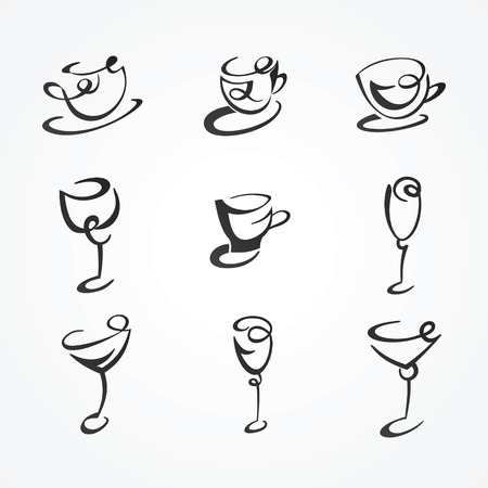 Collection of stylized mugs and glasses