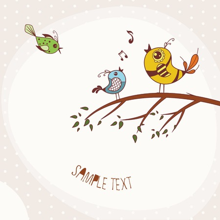 Illustration of Birds Singing perched on a branch of a tree Illustration