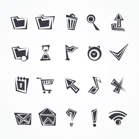 rubbish cart: Set of universal icons