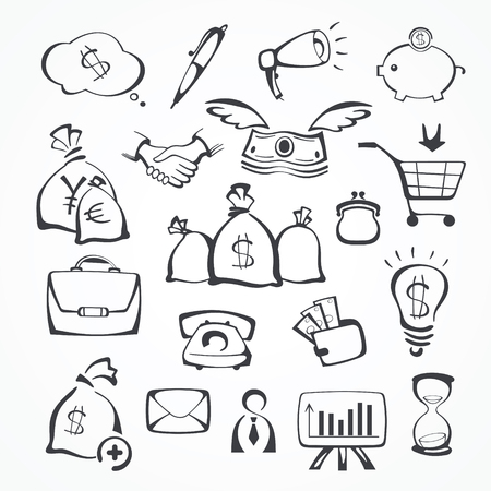 illustration of business icons.