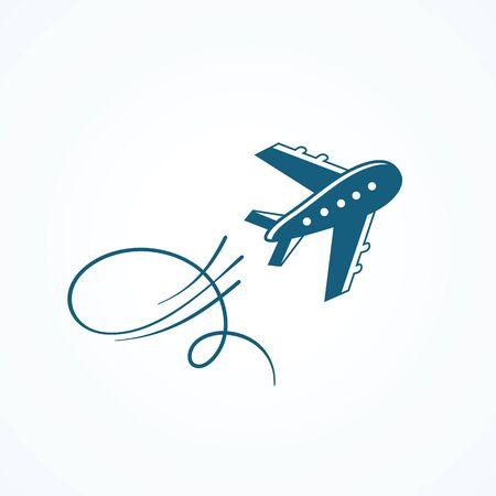 Blue airplane icon Illustration