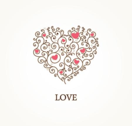Vintage stylized heart Ilustrace
