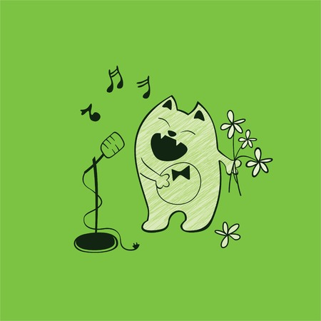 Singing cat with a microphone and flowers Vector