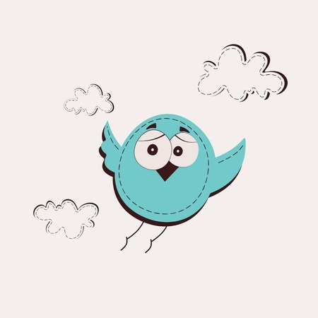 Blue Bird in the clouds Illustration