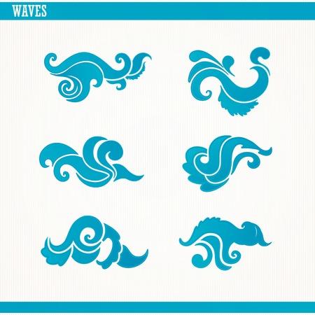 Set of stylized blue waves