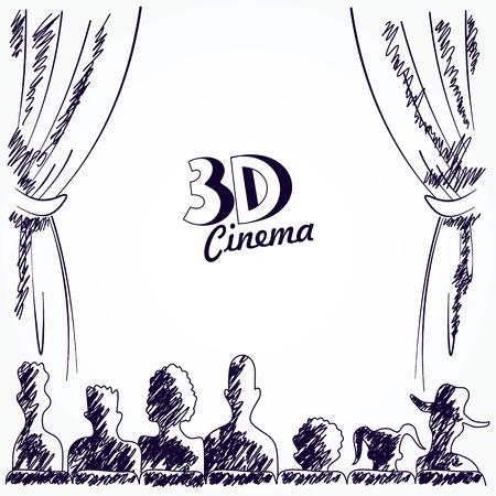 cinta pelicula: Cine audiencia vista posterior, ilustración vectorial
