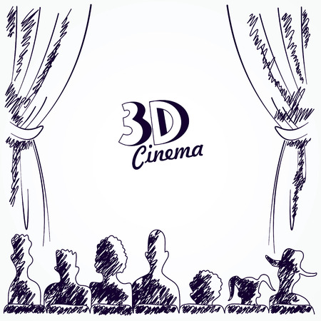 movie screen: Cinema audience back view, vector illustration Illustration