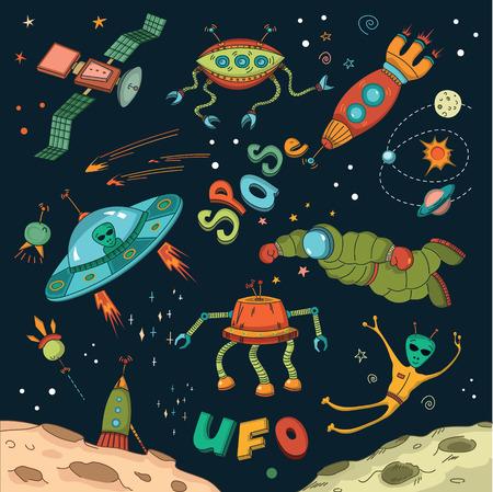 estrella caricatura: El espacio ultraterrestre elementos de dise�o, ilustraci�n vectorial Vectores