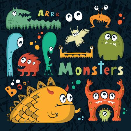 Fun monsters set,vector illustration Illustration